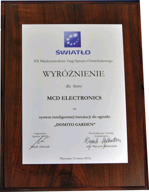 AWARD FOR DOMITO GARDEN CONTROLL SYSTEM