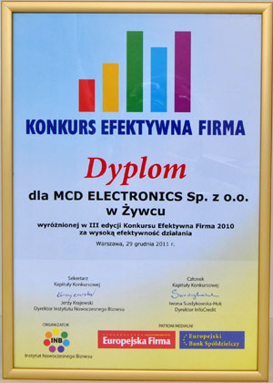 "LAUREATE OF COMPETITION ""EFFECTIVE COMPANY 2010"" 3RD EDITION"