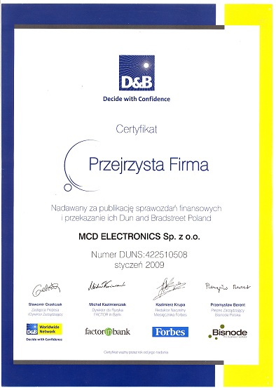 "CLEAR COMPANY CERTIFICATE 2009""."